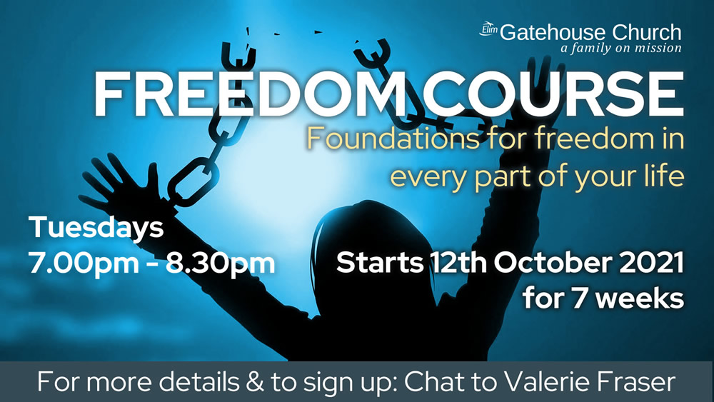 Freedom course starting on 12th October at the Gatehouse