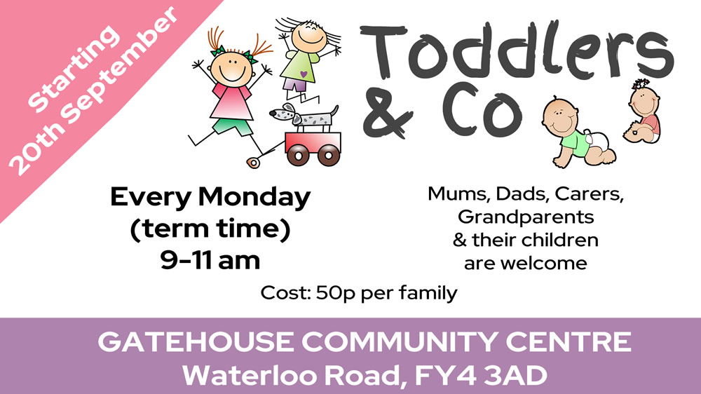 Leaflet for Toddlers and Co group at the Gatehouse Church